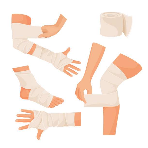 Elastic bandage on injured human body parts set Elastic bandage on injured human body parts set. Special tape made of textile on arms and legs. Medical equipment isolated realistic vector illustrations set. bandage stock illustrations