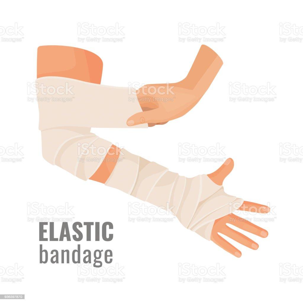 Elastic medical bandage wrapped around hurt human hand vector art illustration