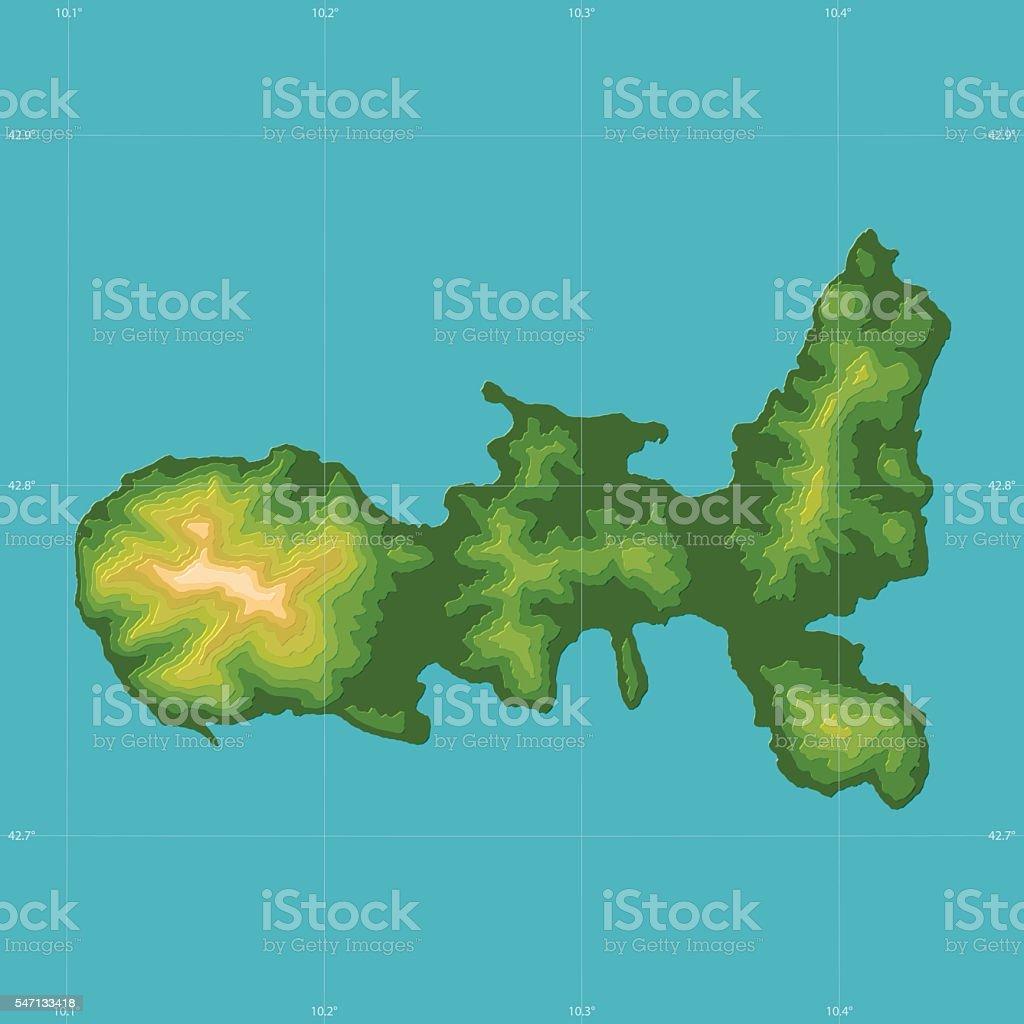 Elba Topographic Relief Vector Map stock vector art 547133418 iStock