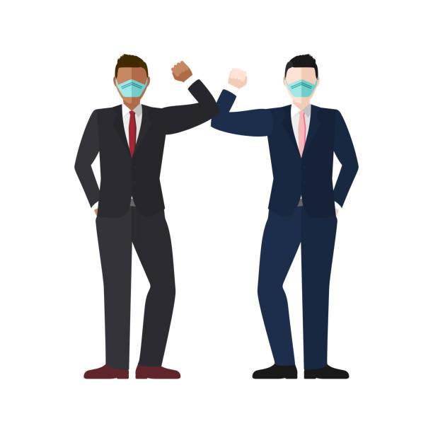 illustrazioni stock, clip art, cartoni animati e icone di tendenza di elbow bump concept vector - businessman covid mask