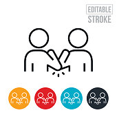 An icon of two people doing an elbow bump to practice social distancing in order to prevent the spread of an infectious disease. The icon includes editable strokes or outlines using the EPS vector file.