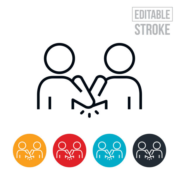 elbow bump thin line icon - editable stroke - social distancing stock illustrations