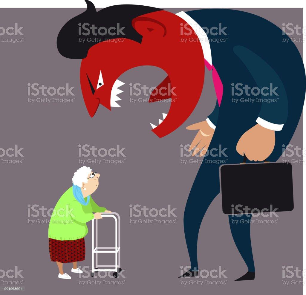 Elder abuse vector art illustration