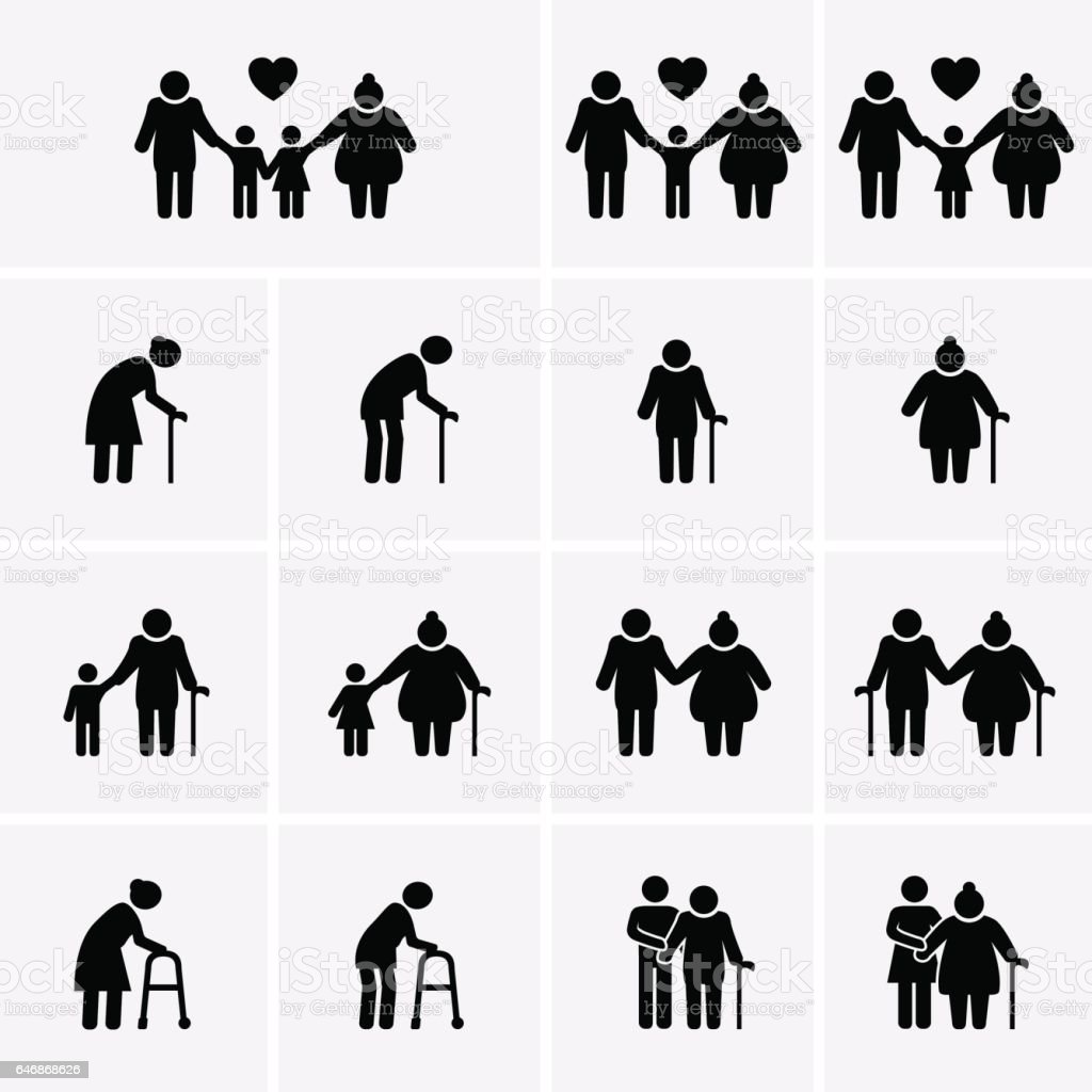 Elder and Family Icons. Old people icons. vector art illustration