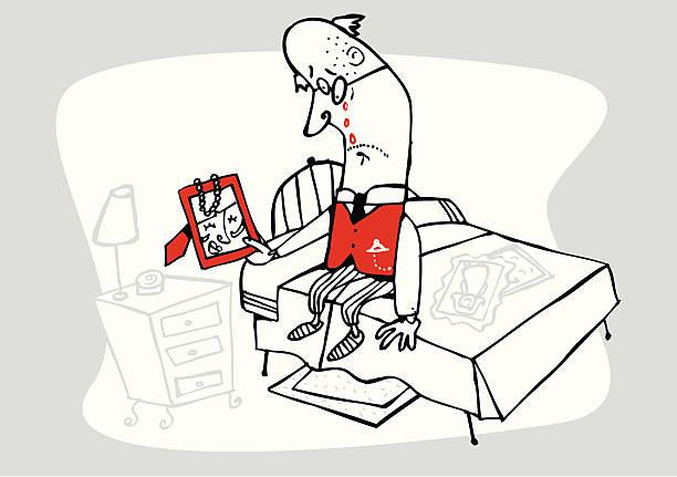 Viejo llanto mientras mira la imagen de la mujer - ilustración de arte vectorial