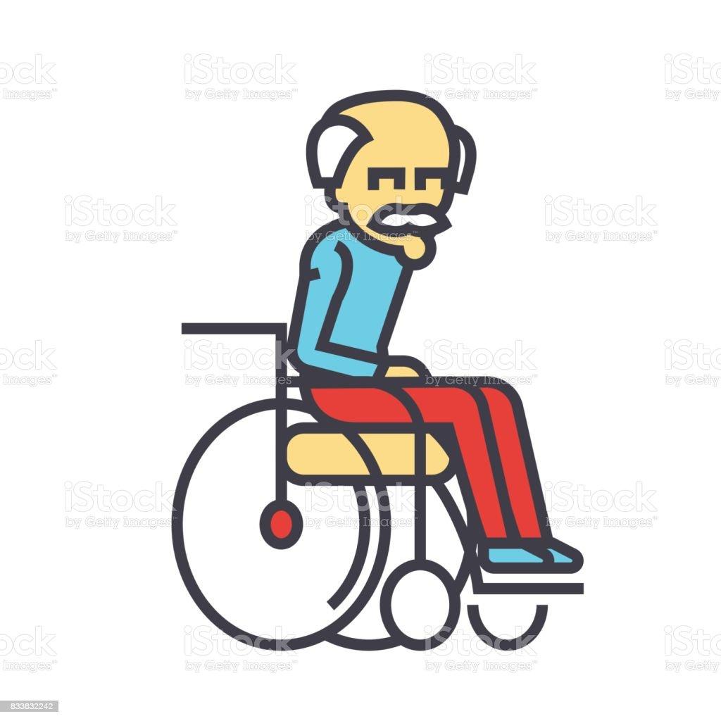 Ilustración Ruedas Icono Silla Anciano Concepto De En LVGzqSMjUp
