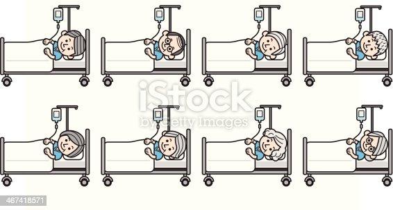 ltere menschen im krankenhaus bett mit infusion stock vektor art und mehr bilder von alter. Black Bedroom Furniture Sets. Home Design Ideas