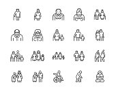 Elder people care flat line icons set. Senior couple, nursing home, happy old man exercising, patient support vector illustrations. Outline signs older citizens. Pixel perfect 64x64. Editable Strokes.