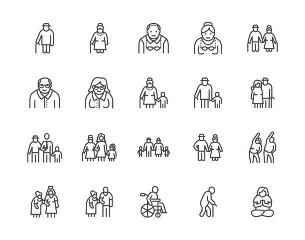 starsi ludzie dbają o płaskie ikony linii zestaw. starsza para, dom opieki, szczęśliwy starzec ćwiczenia, wsparcie pacjenta ilustracje wektorowe. zarys znaków starszych obywateli. pixel doskonały 64x64. edytowalne obrysy - dojrzały stock illustrations