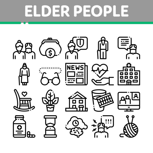 Elder People Pensioner Collection Icons Set Vector vector art illustration