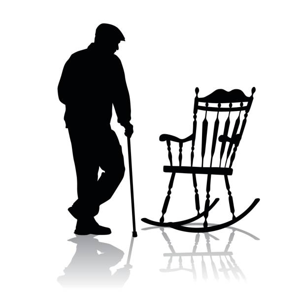 elder rest - old man in rocking chair drawings stock illustrations, clip art, cartoons, & icons