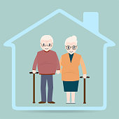 Elderly and home icon, Nursing home sign icon. Medical care concept