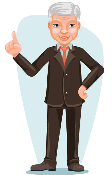 elderly asian businessman chinese japanese vietnamese male employee boss hand forefinger up cartoon character design vector illustration - old man face cartoon stock illustrations, clip art, cartoons, & icons