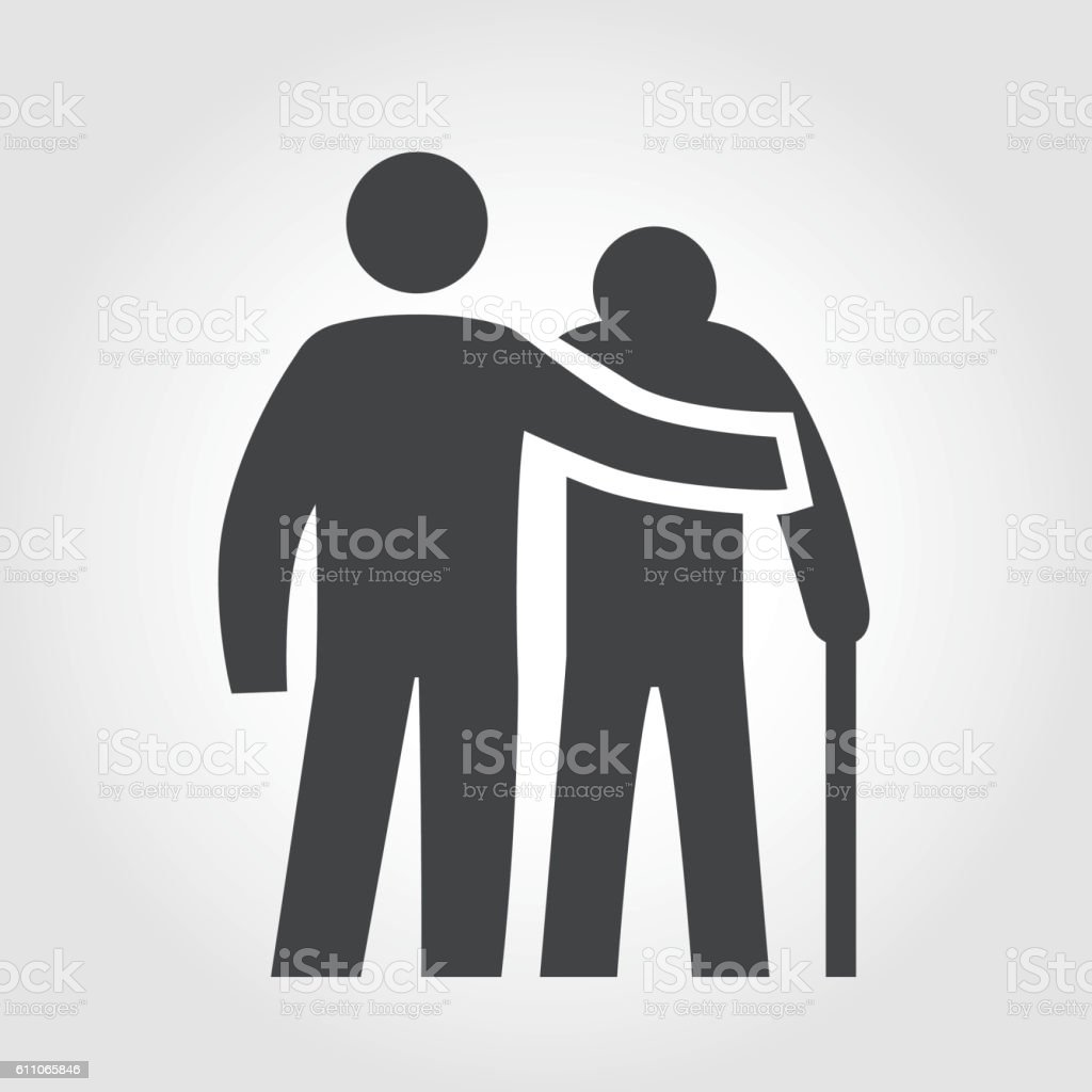 Elderly Assistance Icon - Iconic Series - arte vettoriale royalty-free di Accudire