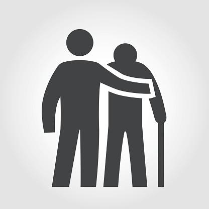 Elderly Assistance Icon Iconic Series - Immagini vettoriali stock e altre immagini di Accudire