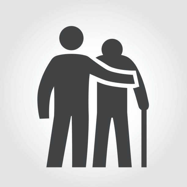 elderly assistance icon - iconic series - geriatrics stock illustrations, clip art, cartoons, & icons