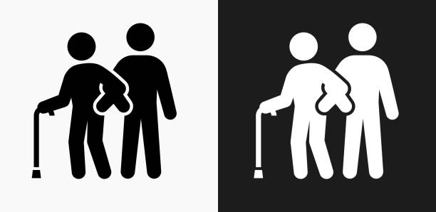 elderly assistance icon on black and white vector backgrounds - nursing home stock illustrations