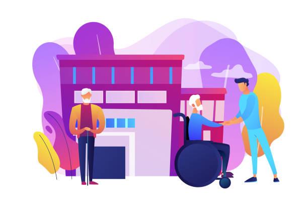 stockillustraties, clipart, cartoons en iconen met ouderenzorg concept vector illustratie - sociale dienst