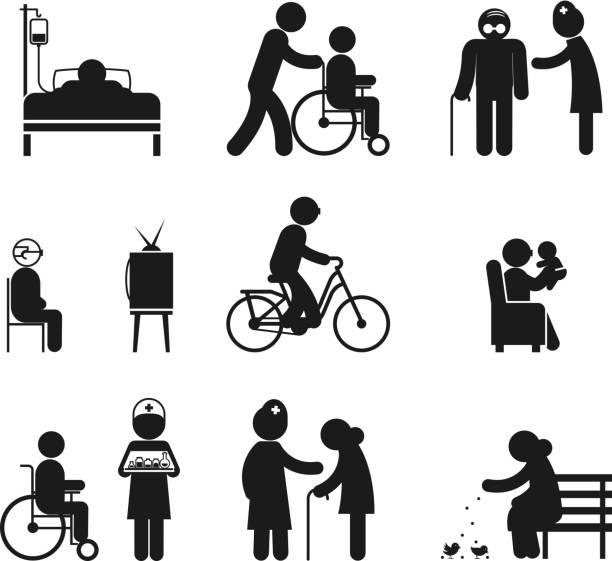 elderly care icons - old man on bike stock illustrations, clip art, cartoons, & icons