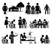 Elderly Care Nursing Old Folks Home Retirement Centre Pictogram