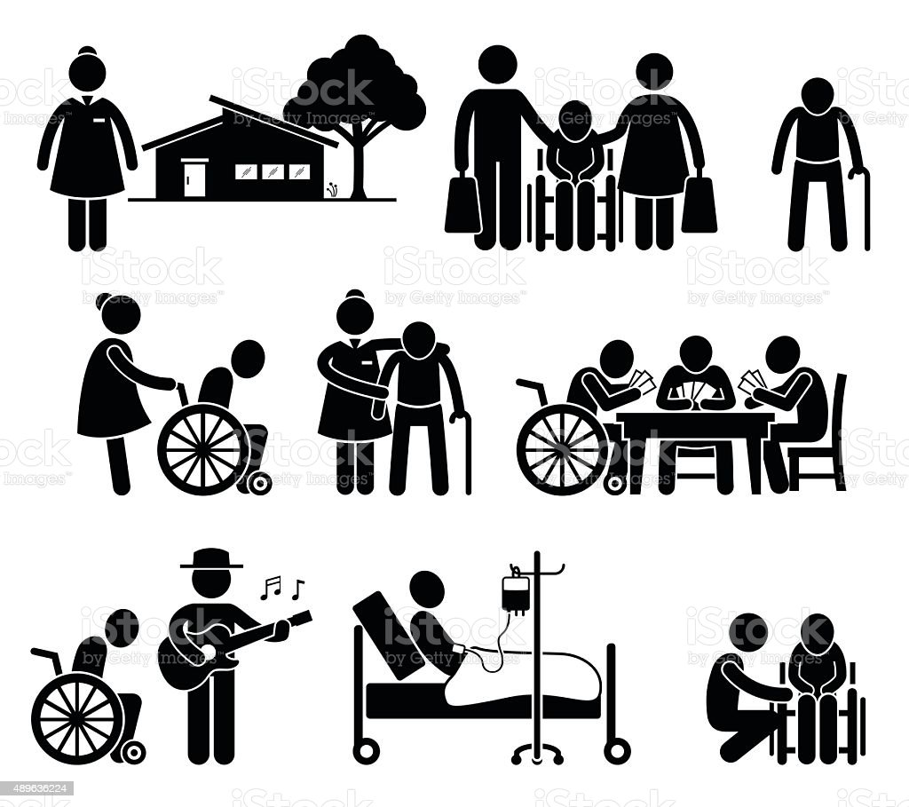 Elderly Care Nursing Old Folks Home Retirement Centre Pictogram vector art illustration