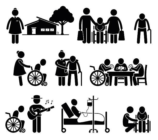 노인 케어 간호 늙음 사람들이 홈화면 정년퇴직 상트르 그림 문자 - nursing home stock illustrations