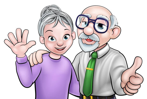 elderly cartoon couple - old man showing thumbs up cartoons stock illustrations, clip art, cartoons, & icons