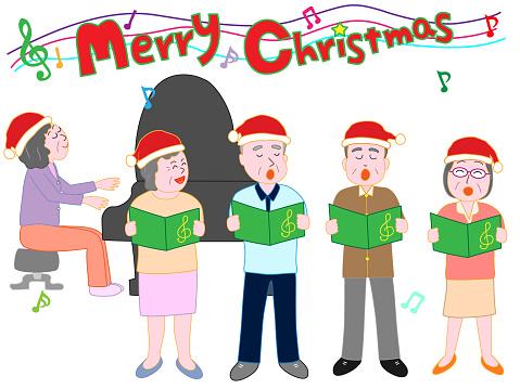 Elderly Christmas Music Stock Illustration - Download Image Now - iStock