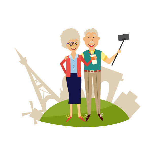 elderly couple against background of france's sights making photo of themselves using smartphone and selfie stick. - old man pic cartoons stock illustrations, clip art, cartoons, & icons