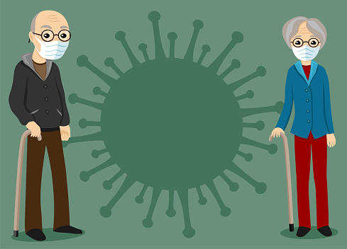 Elderly couple and a sign of the virus.