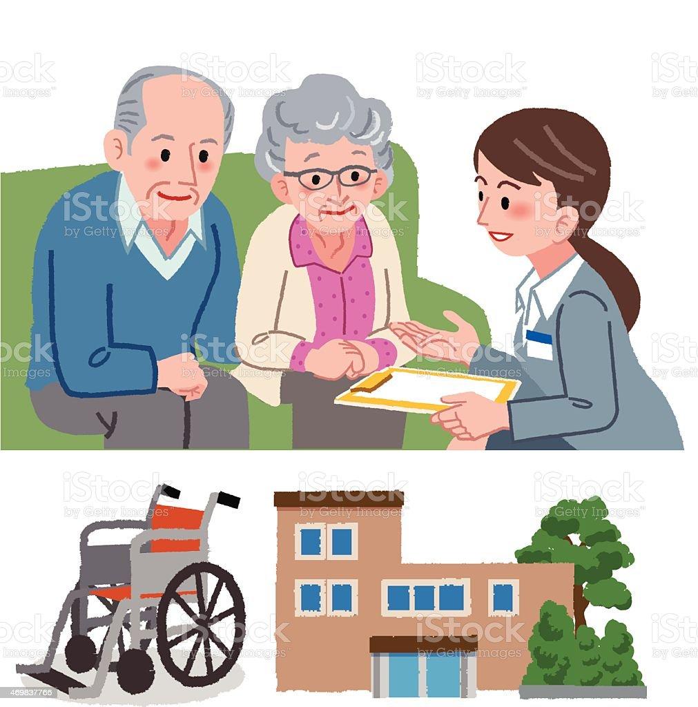 Ältere paar und Geriatric Service manager – Vektorgrafik