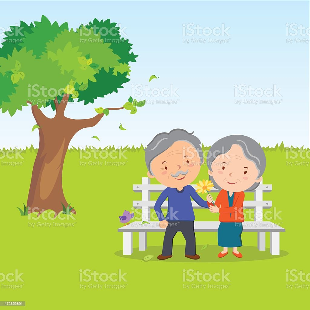 Elderly couple and healthy lifestyle royalty-free stock vector art