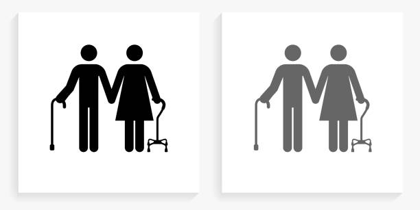Elderly Couple Black and White Square Icon vector art illustration