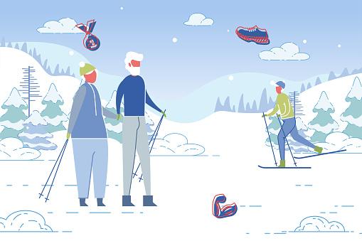 Elderly Couple Characters at Ski Mountain Resort.