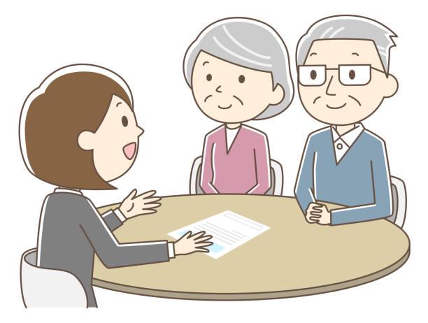 ilustrações de stock, clip art, desenhos animados e ícones de elderly couple coming to consultation - bills couple