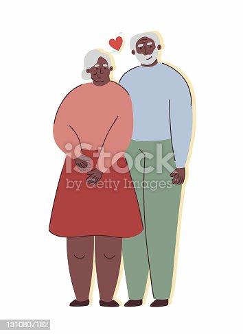 Elderly Couple Concept, Cartoon Style Vector Illustration