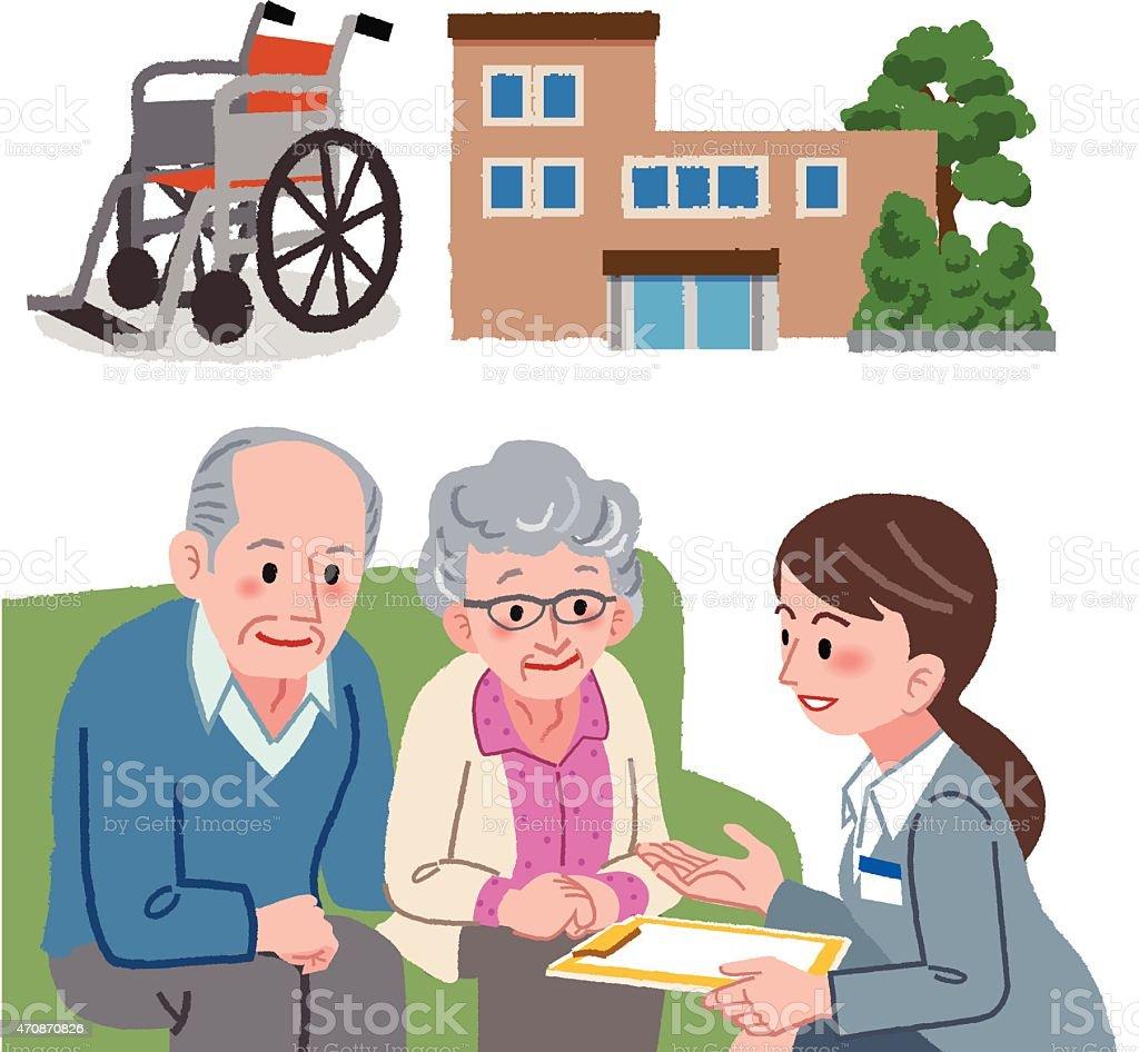 Älteres Ehepaar entwickeln. Mit Geriatric Service manager – Vektorgrafik