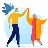 Elderly Couple Dancing Flat Vector Illustration. Grandfather and Grandmother Cartoon Characters. Old Man and Woman, Married Pair Waltzing Together. Happy Retirement, Nursing Home Pastime