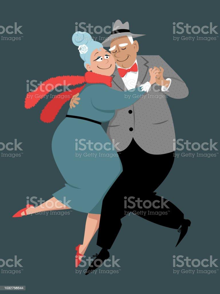 Elderly couple dancing vector art illustration