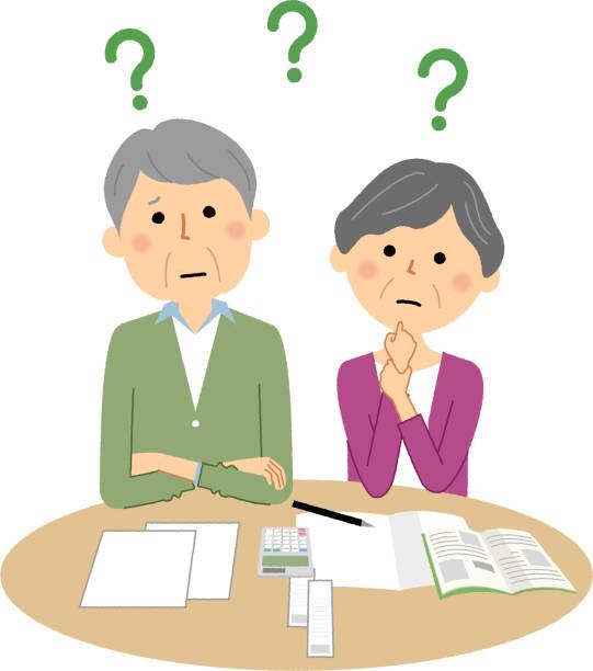 Elderly couple, doubt, savings vector art illustration