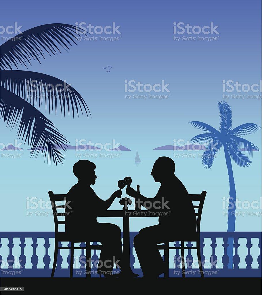 Elderly couple drinking wine on the beach vector art illustration
