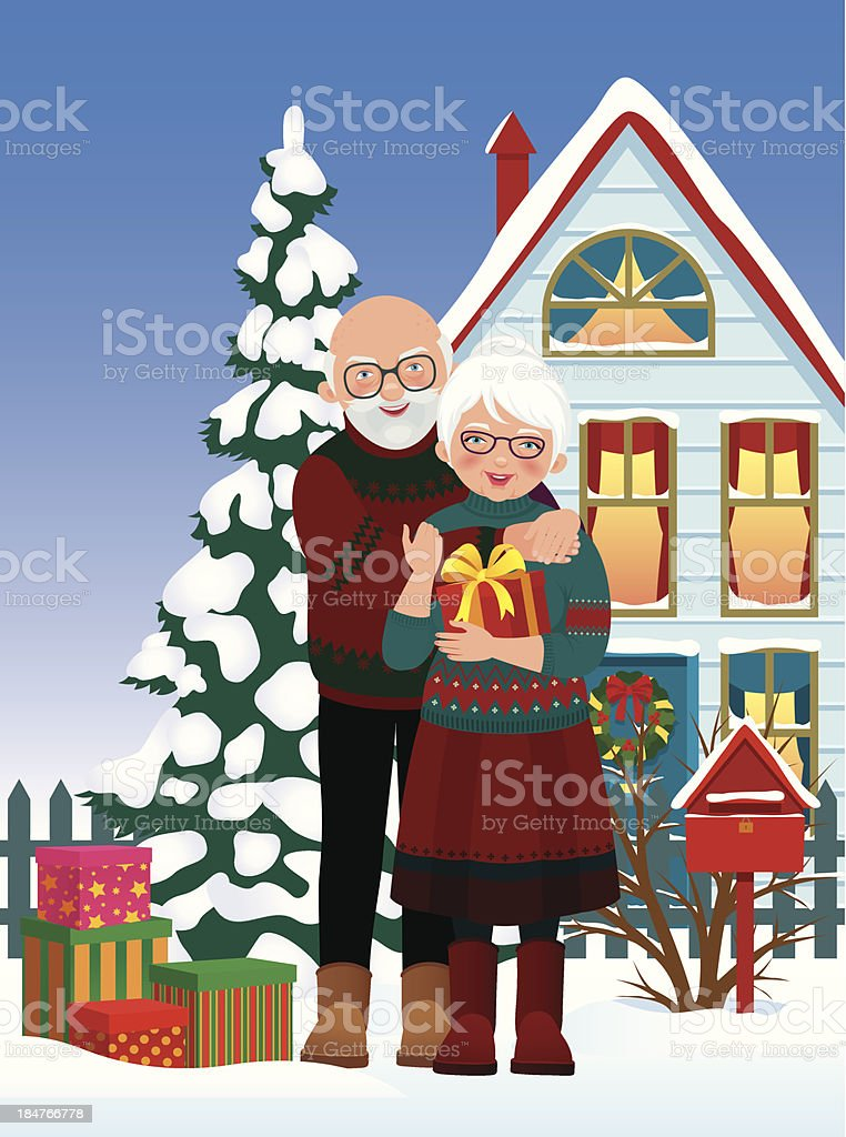 Elderly couple getting gifts at Christmas royalty-free stock vector art