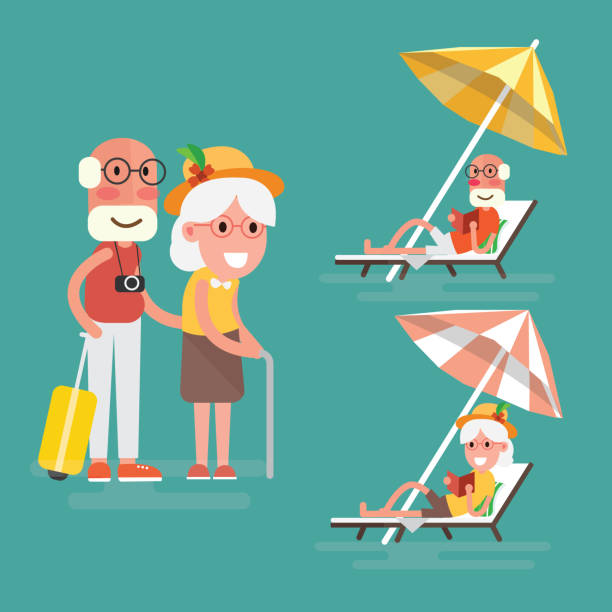 Couple At The Beach Stock Image Image Of Caucasian: Royalty Free Elderly Couple At The Beach Clip Art, Vector