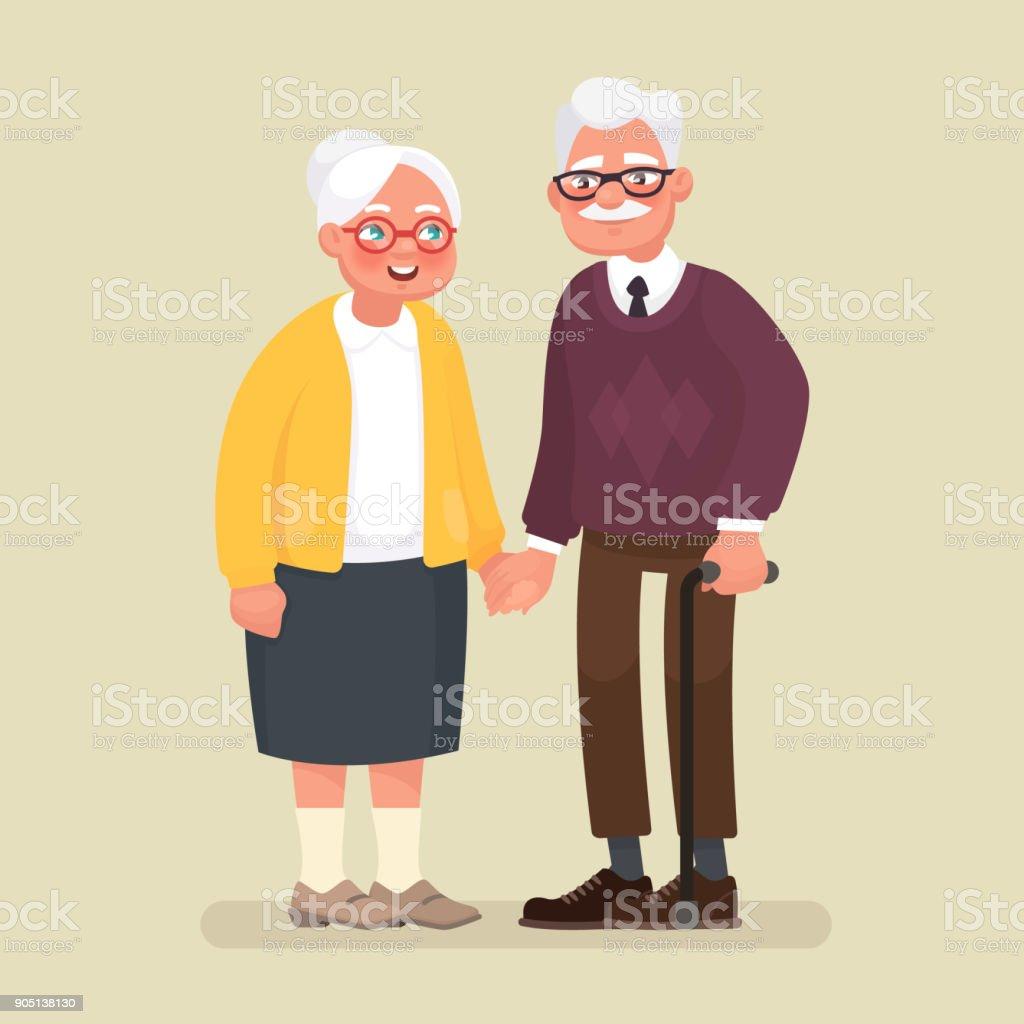 Pareja de ancianos cogidos de la mano. Ilustración de vector de estilo de dibujos animados - ilustración de arte vectorial