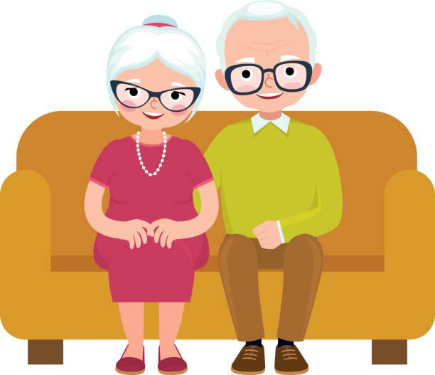 Royalty Free Two Old People Sit On Sofa Clip Art, Vector ...