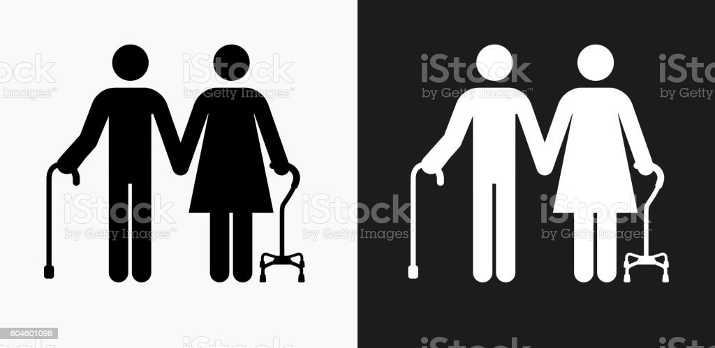 Elderly Couple Icon on Black and White Vector Backgrounds vector art illustration