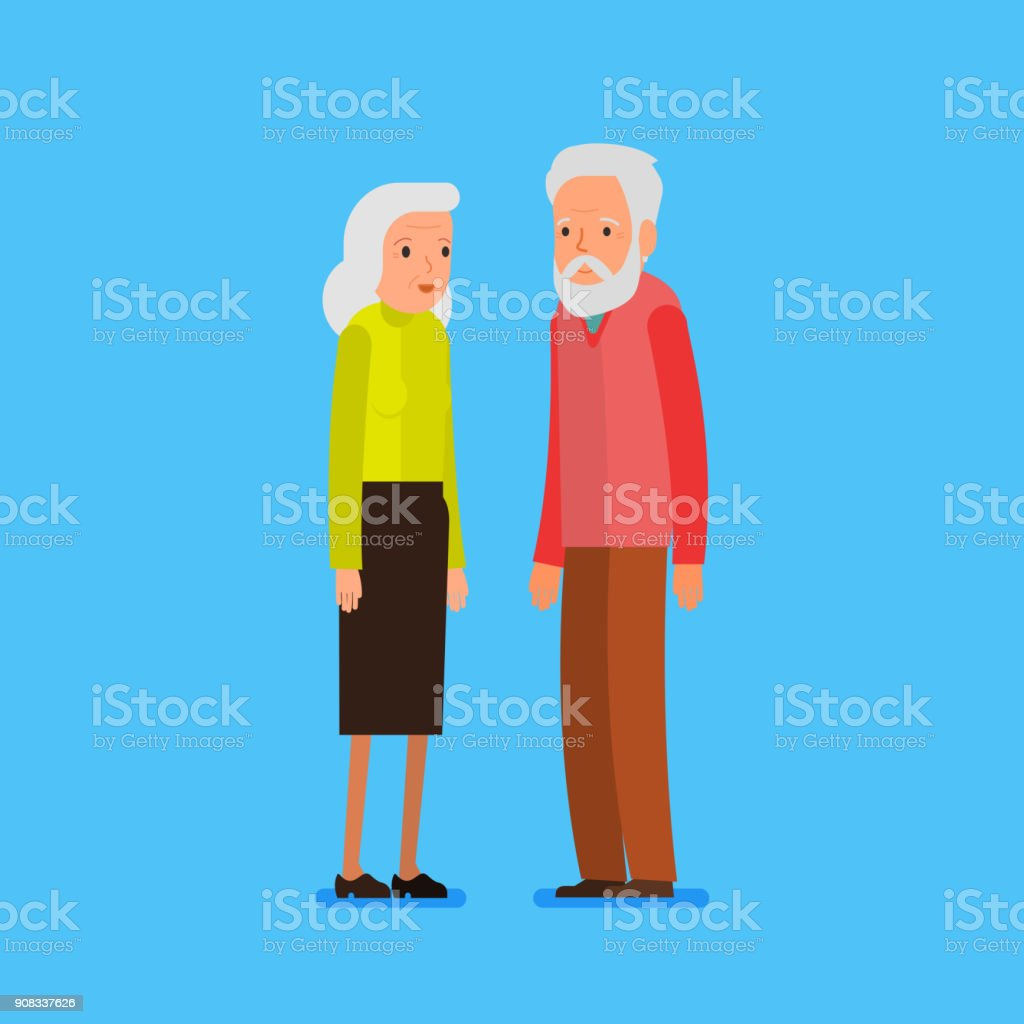 Elderly couple in flat style. vector art illustration