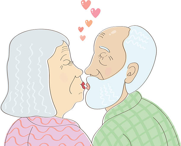 elderly couple in love kissing - old man kissing stock illustrations, clip art, cartoons, & icons