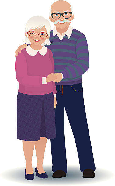 elderly couple in love - old man glasses silhouettes stock illustrations, clip art, cartoons, & icons