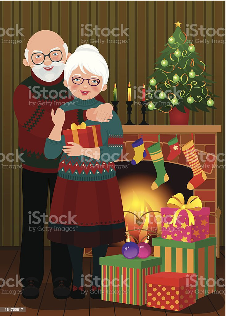 Elderly couple in the fireplace Christmas royalty-free elderly couple in the fireplace christmas stock vector art & more images of adult